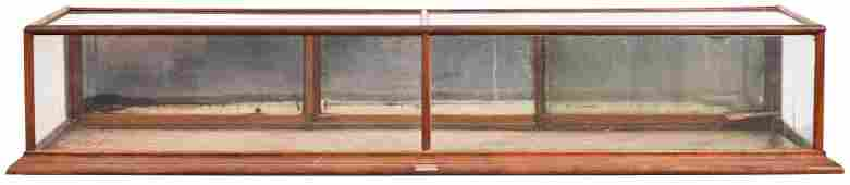Large Oak Counter-Top Showcase w/Read Sliding Doors