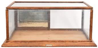 Flat Top Oak Counter-Top Show Case w/Mirrored Sliding