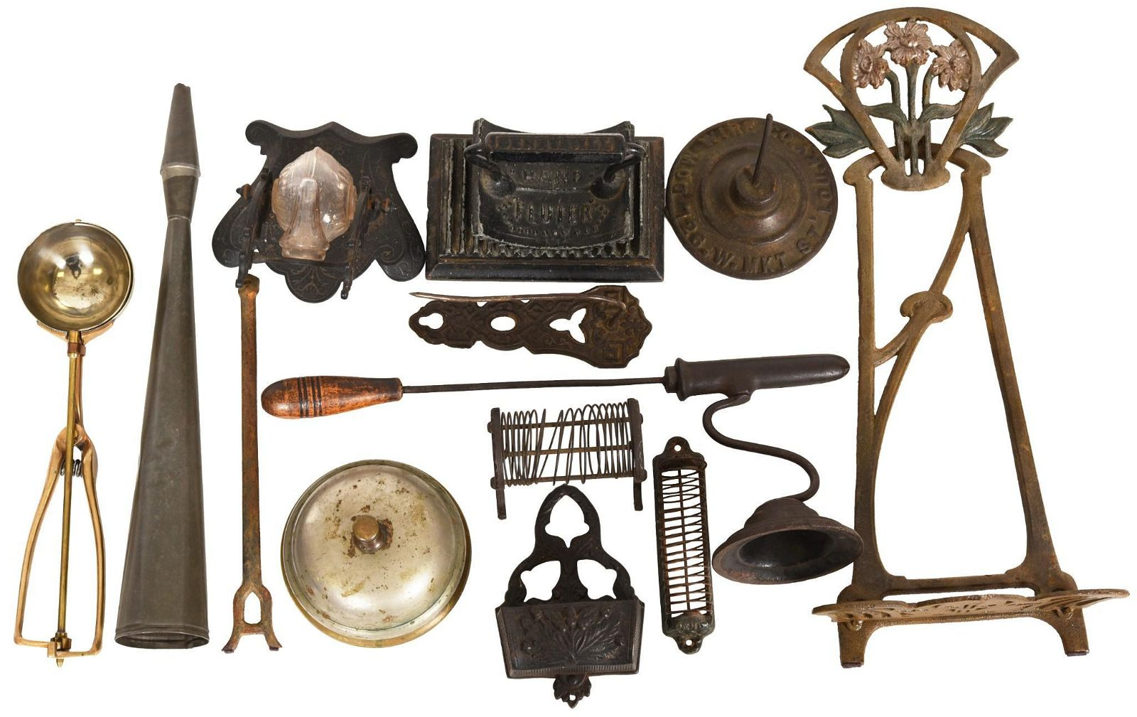 Large Box Lot of Metal Items, Ink Well, Flutter &