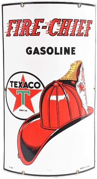Texaco (black-T) Fire Chief Gasoline Porcelain Sign