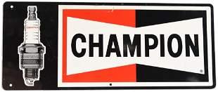 Champion w/Spark Plug Metal Sign