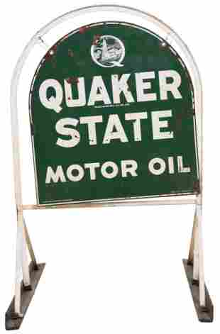 Quaker State Motor Oil Metal Sign in Stand