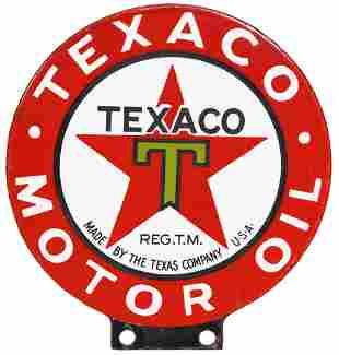 Texaco (black-T) Motor Oil Porcelain Lubester Sign