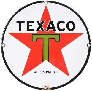 Texaco (black-T) Star Logo Porcelain Sign