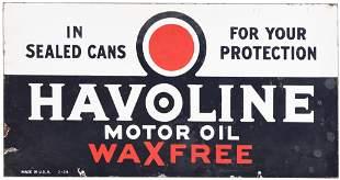 Havoline Motor Oil Wax Free Porcelain Sign