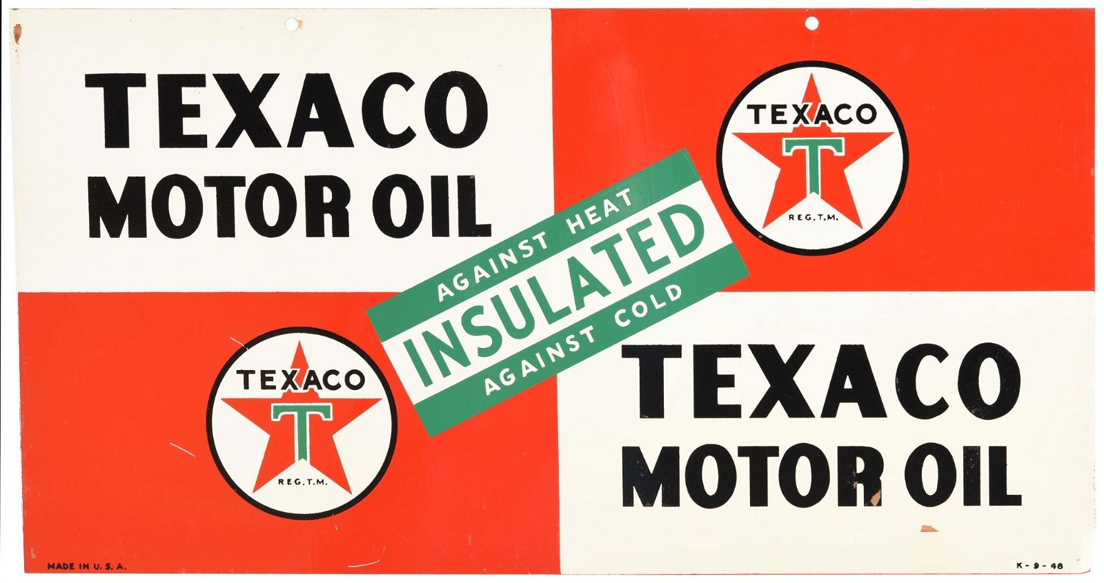 Texaco (white-T) Motor Oil Insulated Metal Sign
