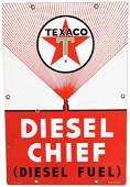 Texaco (white-T) Diesel Chief (large) Porcelain Sign
