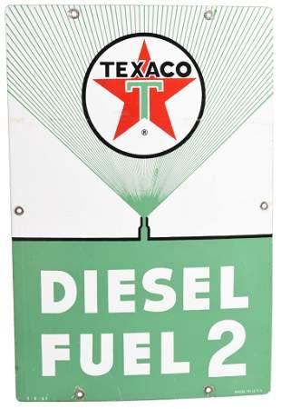 Texaco (white-T) Diesel Fuel 2 (green) Porcelain Sign
