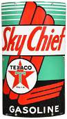 Texaco (white-T) Sky Chief Gasoline Porcelain Curved