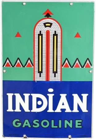 Indian Gasoline (large) Porcelain Sign