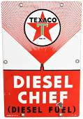 Texaco (white-T) Diesel Chief (small) Porcelain Sign