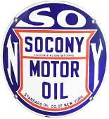 Socony Motor Oil Curve Porcelain Sign