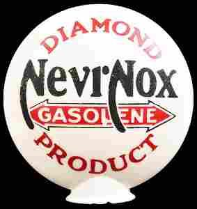 NevrNox Gasolene Diamond Products OPE Milk Glass Globe