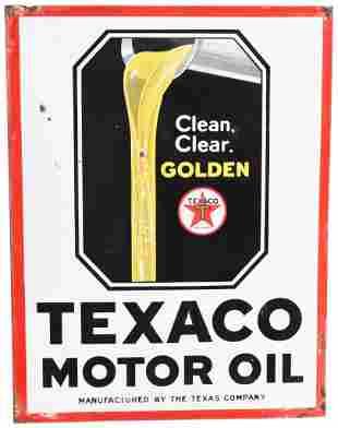 Texaco Motor Oil Clean, Clear, Golden w/Logo Porcelain