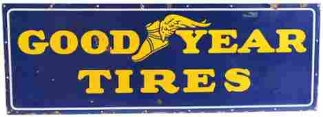 Goodyear w/Winged Foot Logo Porcelain Sign