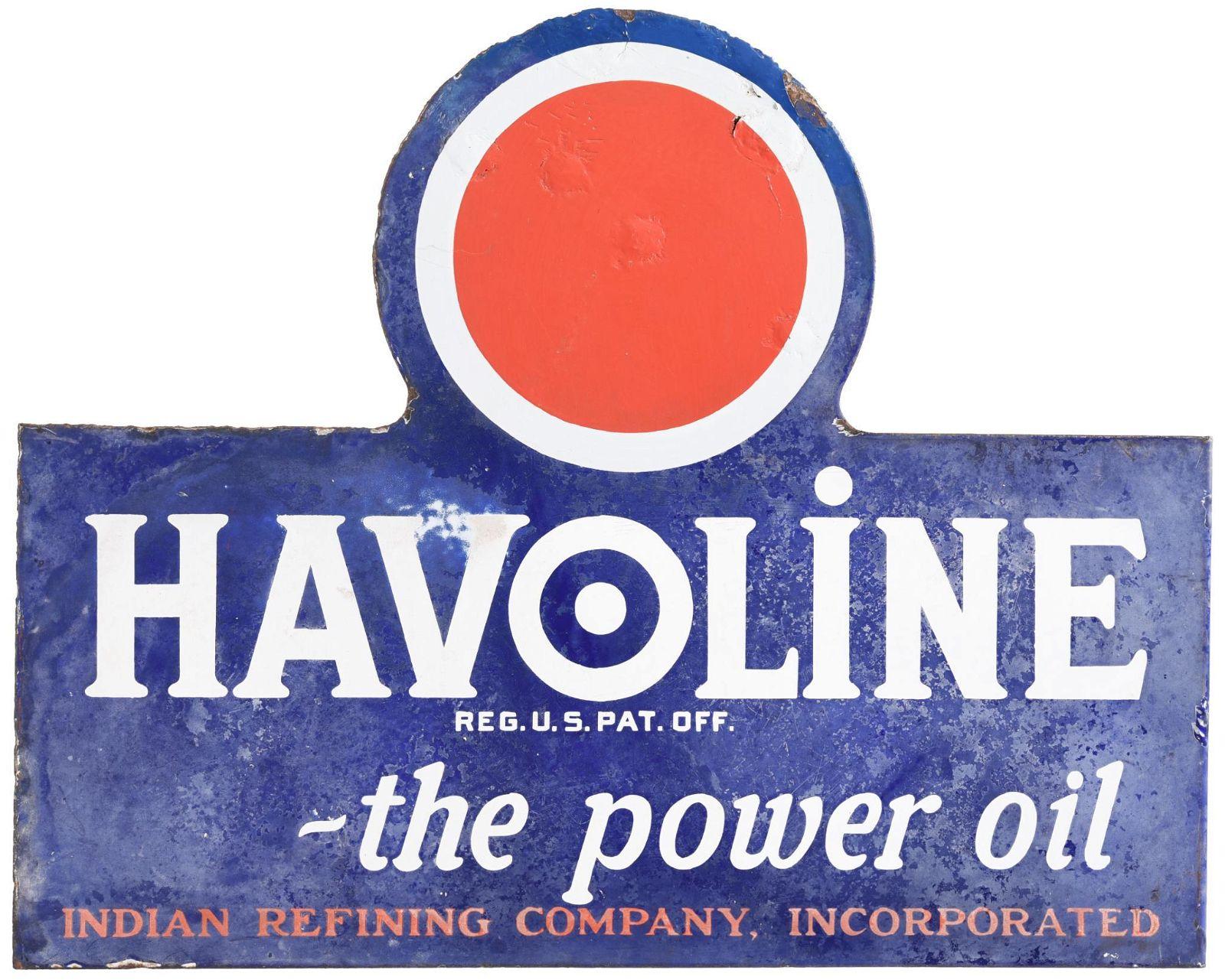 "Havoline ""The Power Oil"" Indian Refining Porcelain Sign"