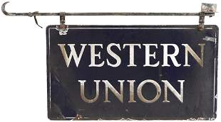 Western Union Porcelain Sign with Hanger