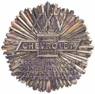 XXV Chevrolet Continuous Years as a Chevrolet Dealer