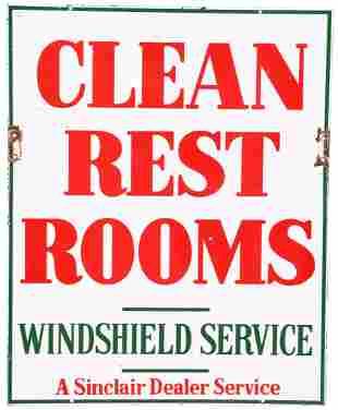 Sinclair Clean Rest Rooms Porcelain Sign