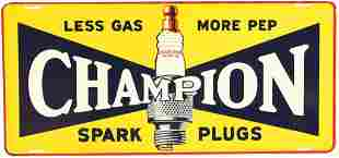 """Champion Spark Plugs """"Less Gas More Pep"""" Metal Sign"""