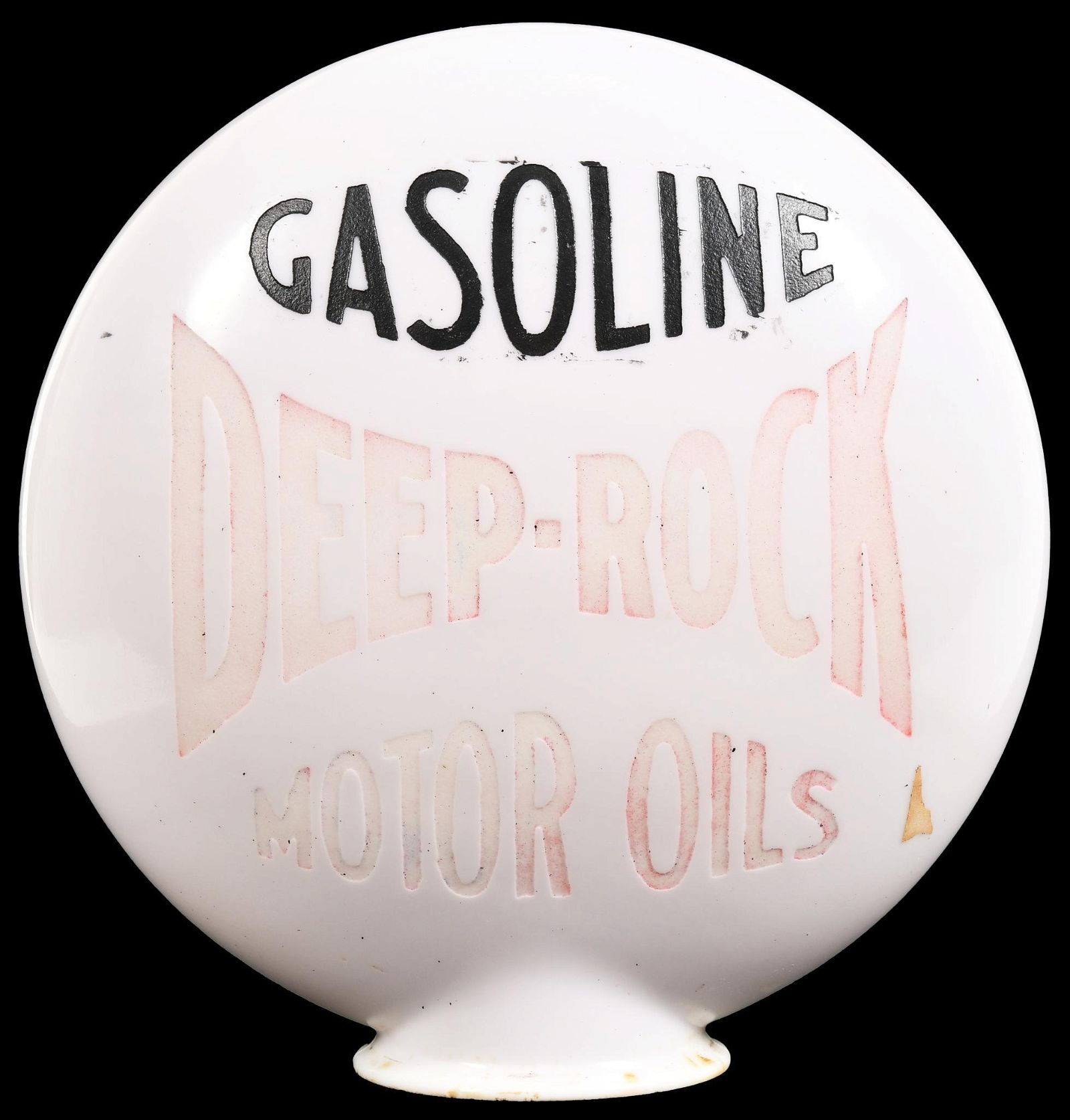 Deep-Rock Gasoline Motor Oil OPE Milk Glass Globe