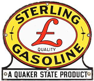 Sterling Gasoline w/Logo Quaker State Product Porcelain