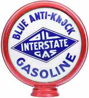 "Oil Interstate Gas Blue Anti-Knock Gasoline 15""D. Globe"
