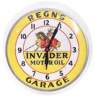 """Invader Motor Oil w/Logo """"Regn's Garage"""" Lighted Clock"""