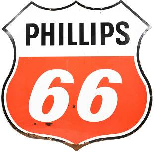 Phillips 66 (red & White) Porcelain ID Sign