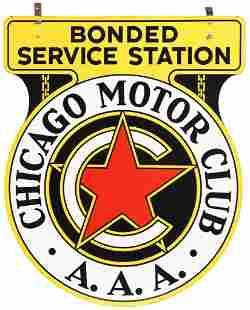 """Chicago Motor Club """"Bonded Service Station"""" Porcelain"""