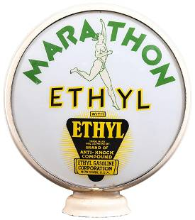 "Marathon w/Ethyl & Running Man Logos 15""D., Globe"