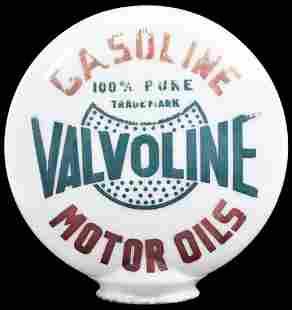 Valvoline Gasoline Motor Oil OPB Milk Glass Globe