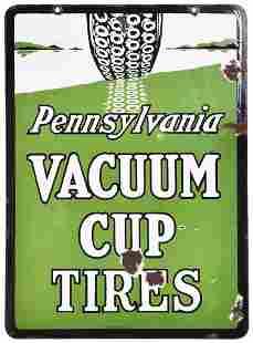 Pennsylvania Vacuum Cup Tires w/Logo Porcelain Sign