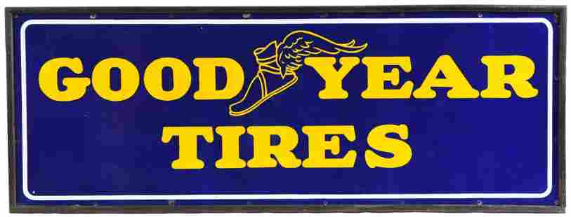 Goodyear Tires w/Winged Foot Logo Porcelain Sign