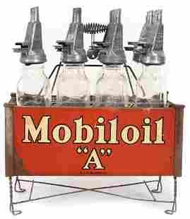 Mobiloil Filpruf Oil Bottles in Holder