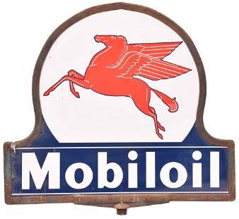 Mobiloil w/Pegasus Keyhole Porcelain Curb Sign