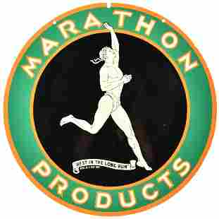 Marathon Products Curb Sign Restored