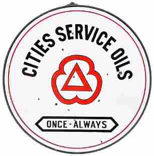 """Cities Service Oils """"Once Always"""" w/Red Logo Porcelain"""