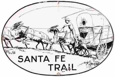 Santa Fe Trail w/Wagon Train Logo Porcelain Sign