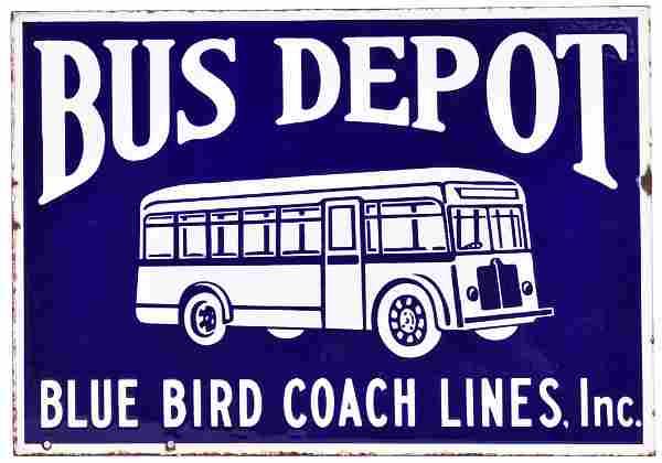 Blue Bird Coach Lines Bus Depot w/Logo Porcelain Sign