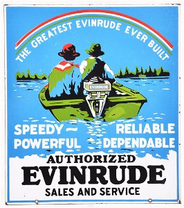 Rare Evinrude Authorized Sales and Service Porcelain
