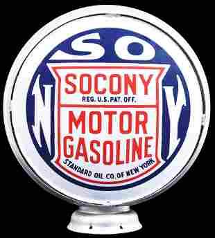 "Rare Socony Motor Gasoline 15""D., Porcelain Globe"