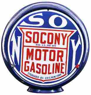"Socony Motor Gasoline 14""D., Porcelain Single Globe"
