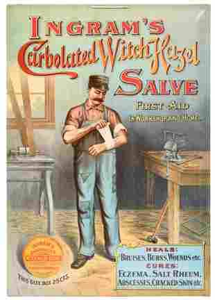 Ingram's Carbolated Witch Hazel Salve Celluloid Sign