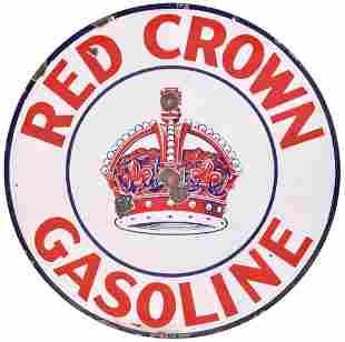 Red Crown Gasoline w/Logo Porcelain Sign