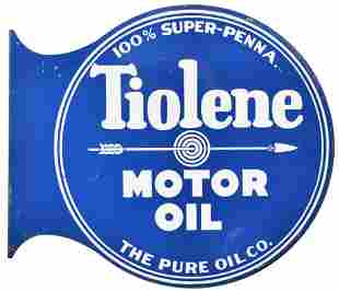 Pure Tiolene Motor Oil w/Arrow Logo Metal Sign