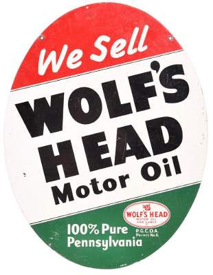 We Sell Wolf's Head Motor Oil w/Logo Metal Sign