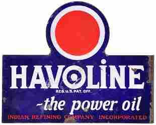 """Havoline """"the power oil' w/Red Dot Logo Porcelain Sign"""