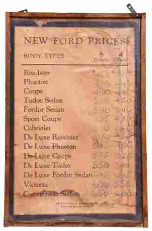 New Ford Prices (Model A) Framed Paper Poster