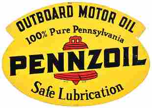 Pennzoil Outboard Motor Oil w/Red Bell Metal Rack Sign